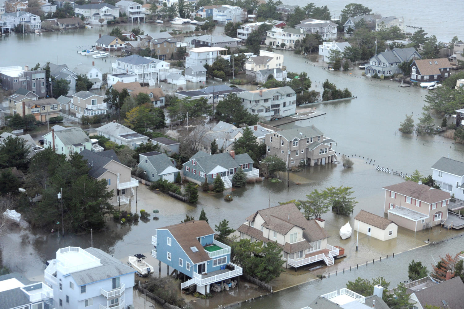 A portion of Harvey Cedars, on the bay side of Long Beach Island on the New Jersey shore, is under water, October 30, 2012, after Hurricane Sandy blew across the New Jersey barrier islands. This portion of the road is in Harvey Cedar. (Clem Murray/Philadelphia Inquirer/MCT)