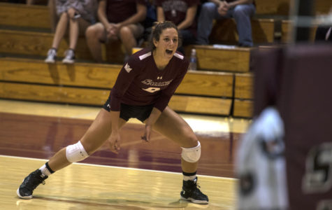 Senior outside hitter Andrea Estrada reacts to a play Saturday, Sept. 30, 2017, during the Salukis' 4-1 loss to the University of Indiana Sycamores at Davies Gym. (Mary Newman | @MaryNewmanDE)