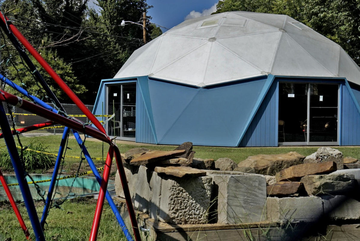 """The Fuller Dome home, also known as the """"Bucky Dome,"""" is pictured on Forest Avenue Tuesday, Sept. 26, 2017, in Carbondale. (Auston Mahan 