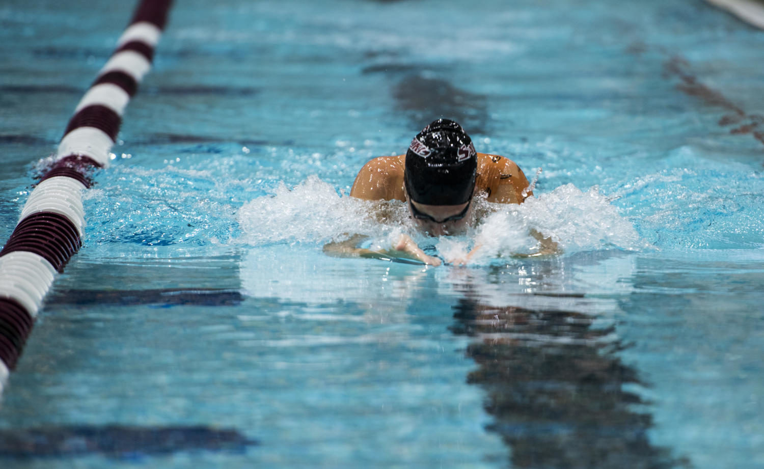 Senior Chandler Ott swims the women's 50 yard breaststroke Friday, Sept. 15, 2017, during the Saluki's first meet of the season against Lindenwold University at Edward Shea Natatorium. (Dylan Nelson | Dylan_Nelson99)