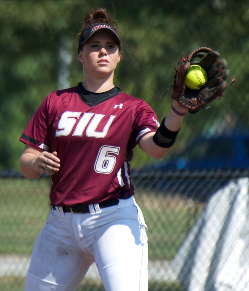 Senior utility Savannah Fisher catches the ball at second base Saturday, Sept. 23, 2017, during the Salukis 5-0 win against Lake Land College at Charlotte West Stadium.  (Mary Newman | @MaryNewmanDE)