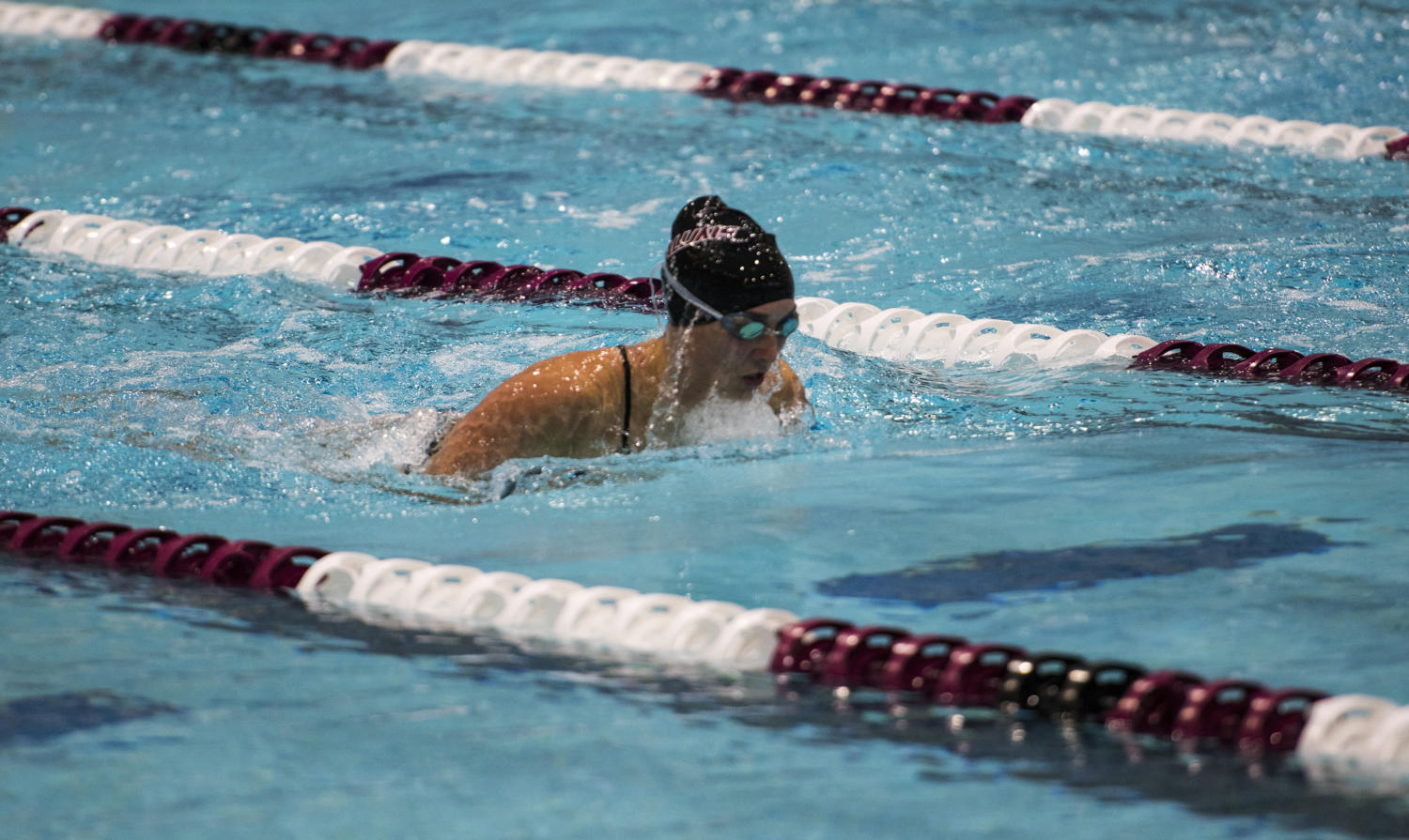 Freshman Cassidy Lounsbury swims the women's 50-yard breaststroke during the Saluki's first meet of the season against Lindenwood University on Friday, Sept. 15, 2017, at the Dr. Edward Shea Natatorium. The Salukis ranked low times in six races against the Lions. (Dylan Nelson | Dylan_Nelson99)