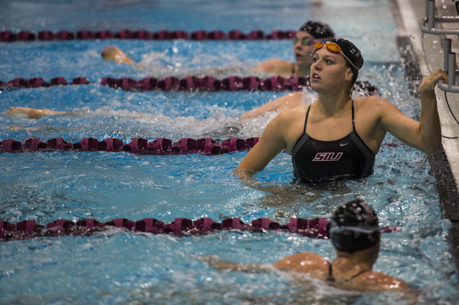 Freshman+Abbie+Young+checks+the+scoreboard+Friday%2C+Sept.+15%2C+2017%2C+during+the+Salukis%27+first+meet+of+the+season+against+Lindenwood+University+at+the+Dr.+Edward+Shea+Natatorium.+%28Dylan+Nelson+%7C+Dylan_Nelson99%29