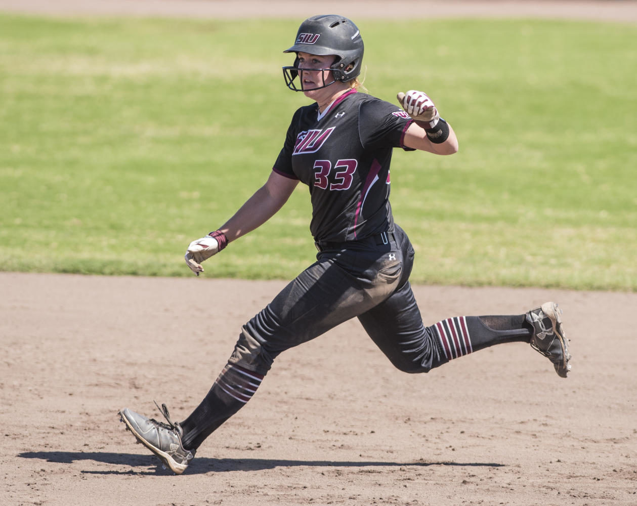Sophomore infield Kyleigh Decker steals 3rd base Sunday, Sept. 10, 2017, during the Salukis' second game of the season against John A. Logan Vols at Brechtelsbauer Field. (Dylan Nelson | @DylanNelson99)