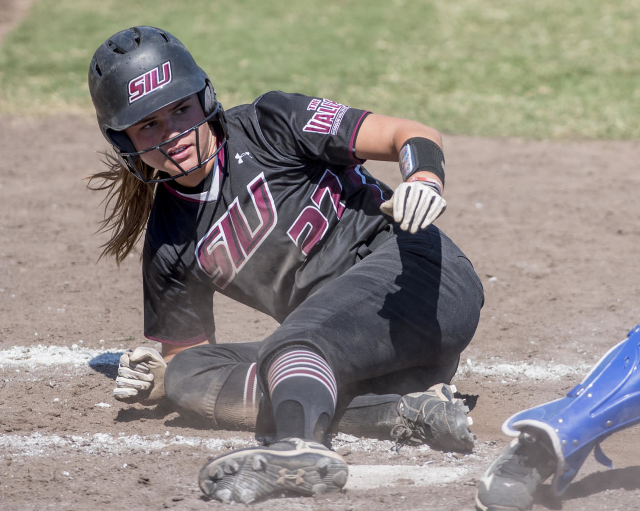 Sophomore infield Maddy Vermejan slides into home plate Sunday, Sept. 10, 2017, during the Salukis' second game of the season against John A. Logan Vols at Brechtelsbauer Field. (Dylan Nelson | @DylanNelson99)
