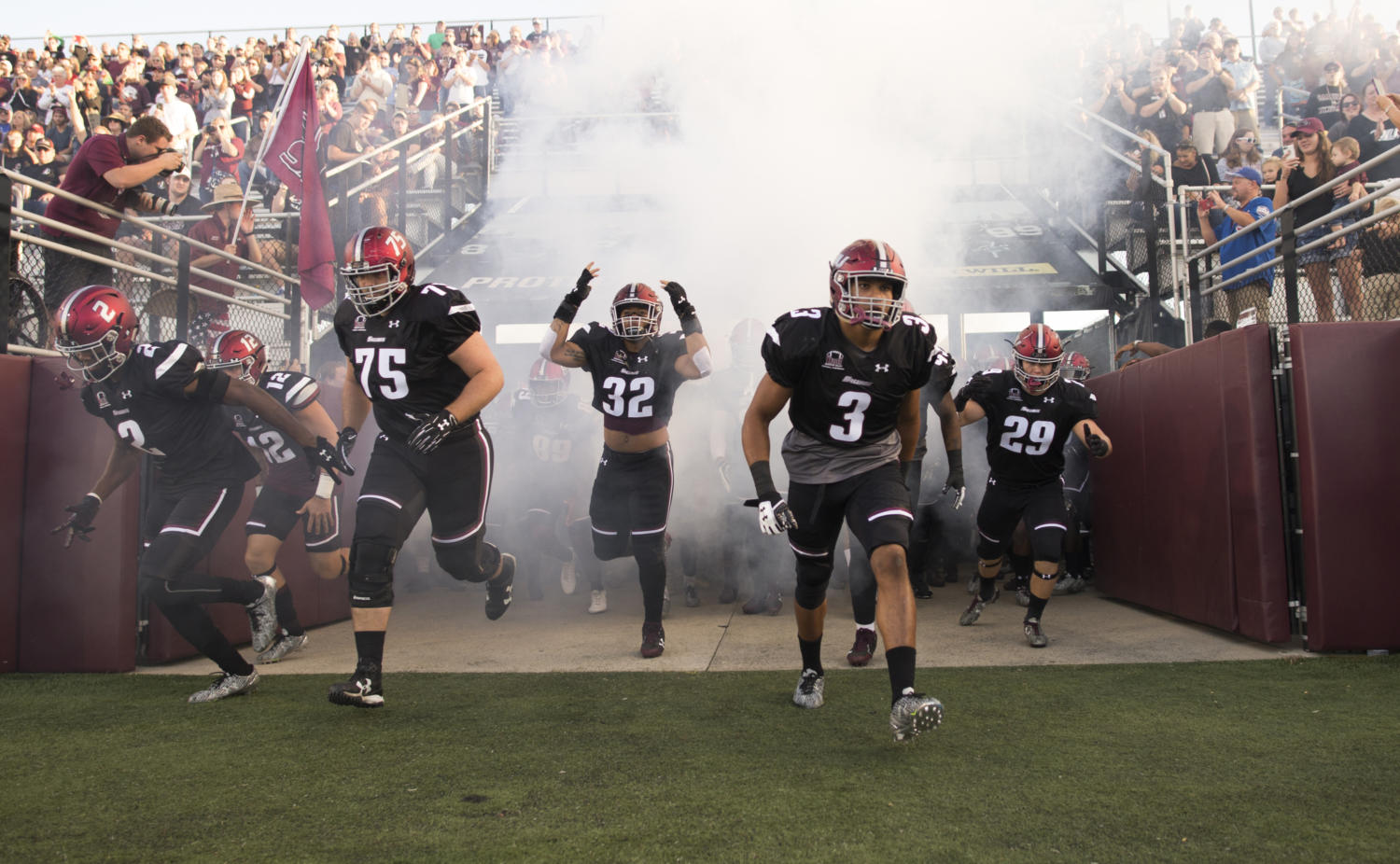Salukis rush into the stadium Saturday, Sept. 30, 2017, before the match against the University of Northern Iowa at Saluki Stadium. (Dylan Nelson   @Dylan_Nelson99)