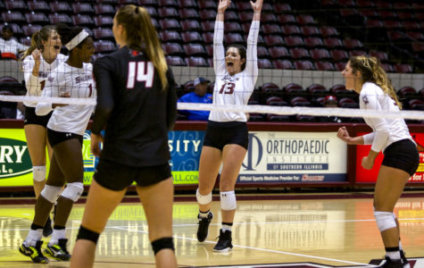 Saluki volleyball takes home first win of the season against rival Redhawks