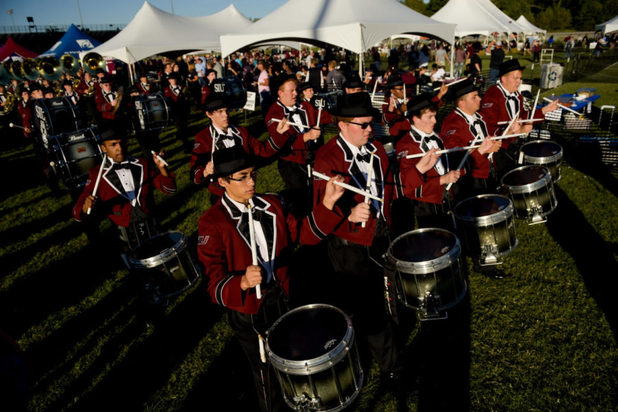 The+Marching+Salukis%E2%80%99+drumline+performs+Saturday%2C+Sept.+30%2C+2017%2C+before+the+Salukis%E2%80%99+matchup+against+the+University+of+Northern+Iowa+Panthers+at+Saluki+Stadium.