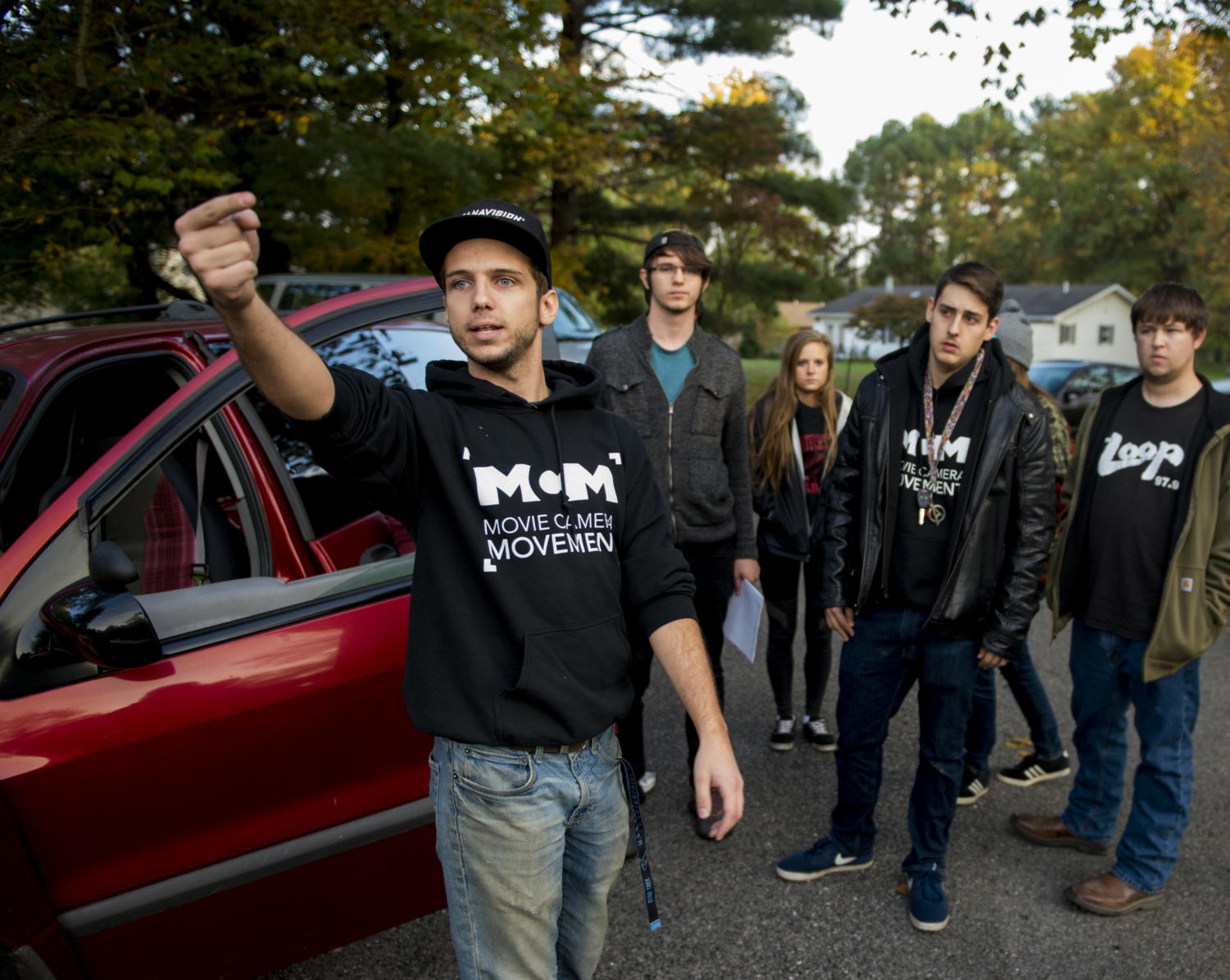 Senior cinema major Michael Morones, of Cary, directs the camera crew Friday, Oct. 27, 2017 on the set of