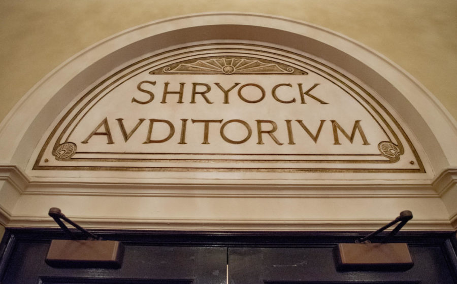 The entrance of Shryock Auditorium is pictured Thursday, Oct. 5, 2017, at Shryock Auditorium in Carbondale. The auditorium's namesake, Henry William Shryock, died inside the building just before a student convocation on April 13, 1935. (Brian Muñoz | @BrianMMunoz)