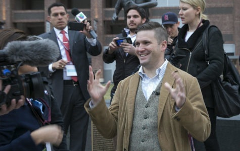Richard Spencer, a white nationalist, takes a brief tour of Texas A&M campus on December 6, 2016, in College Station, Texas. On Saturday, Oct. 7, 2017, he led dozens of torch-wielding white supremacists in a rally at the Confederate statue in Charlottesville, Va., for the first time since a neo-Nazi attacked marching protesters, killing one. (Ralph Barrera/Austin American-Statesman/TNS)