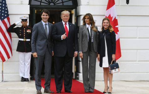 U.S. President Donald Trump and first lady Melania Trump welcome Canadian Prime Minister Justin Trudeau and Sophie Gregoire Trudeau to the White House on Wednesday, Oct. 11, 2017 in Washington D.C. (Olivier Douliery/Abaca Press/TNS)