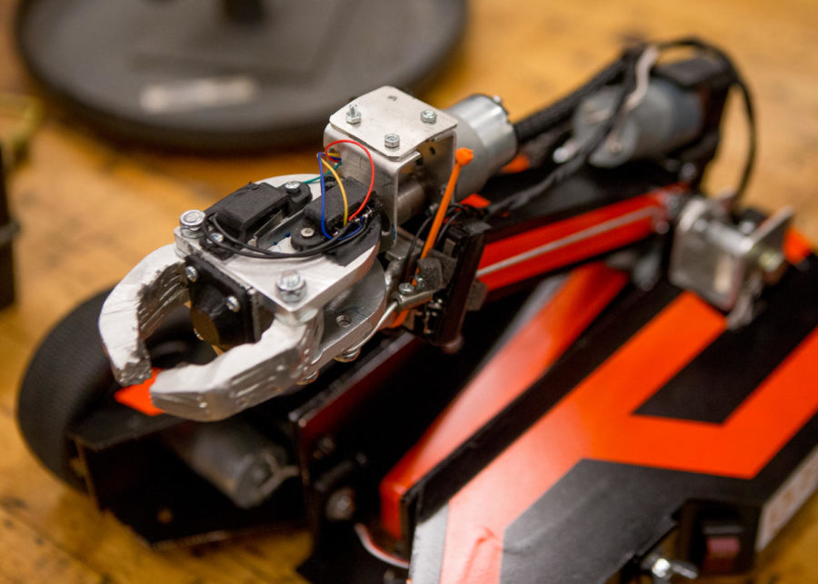 Winston a mechanized robot that manuevers through an obstacle course is pictured Wednesday, Nov. 16, 2017, in the industrial processes lab in the Engineering Building. (Brian Muñoz   @BrianMMunoz)