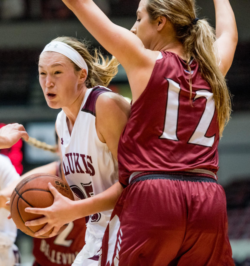 SIU freshman forward Abby Brockmeyer fights to defend the ball during the Salukis' 90-68 win against the Lindenwood Lynx Friday, Nov. 3, 2017, at SIU Arena (Brian Muñoz | @BrianMMunoz)