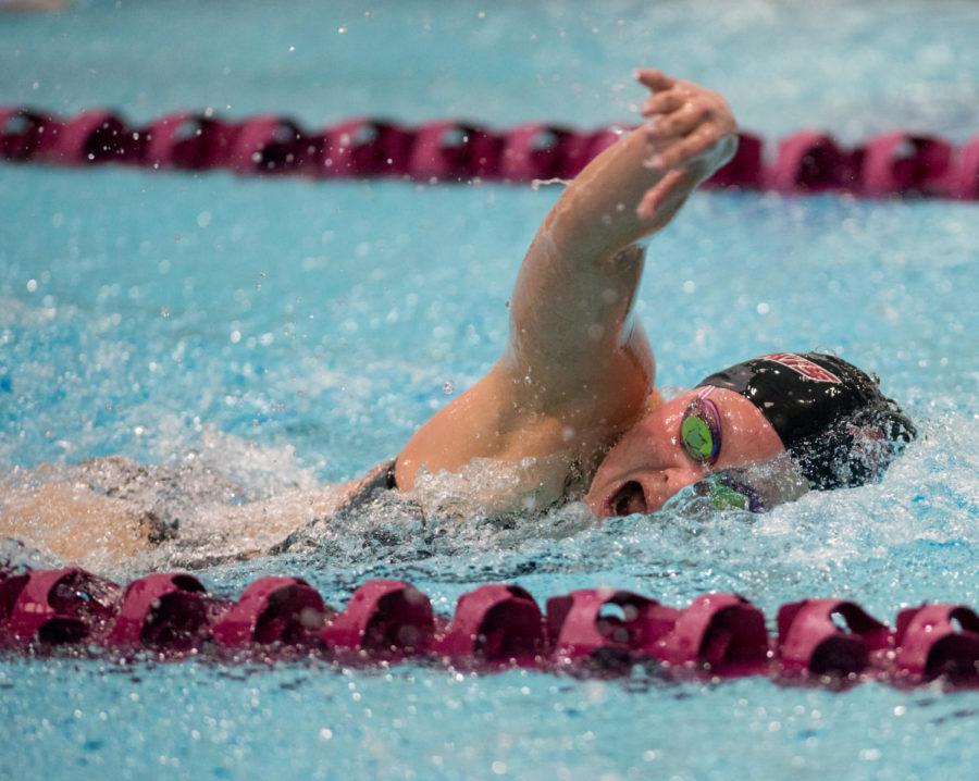 Senior+swimmer+Bryn+Handley+competes+Saturday%2C+Nov.+4%2C+2017%2C+in+the+Dr.+Edward+Shea+Natatorium.+%28Brian+Mu%C3%B1oz+%7C+%40BrianMMunoz%29
