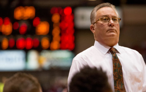 SIU mens baskebtall head coach Barry Hinson reacts after looking at the score board Saturday, Nov. 18, 2017, during the Salukis' 69-64 win against the University of Illinois Springfield Prairie Stars at SIU Arena. (Brian Muñoz | @BrianMMunoz)