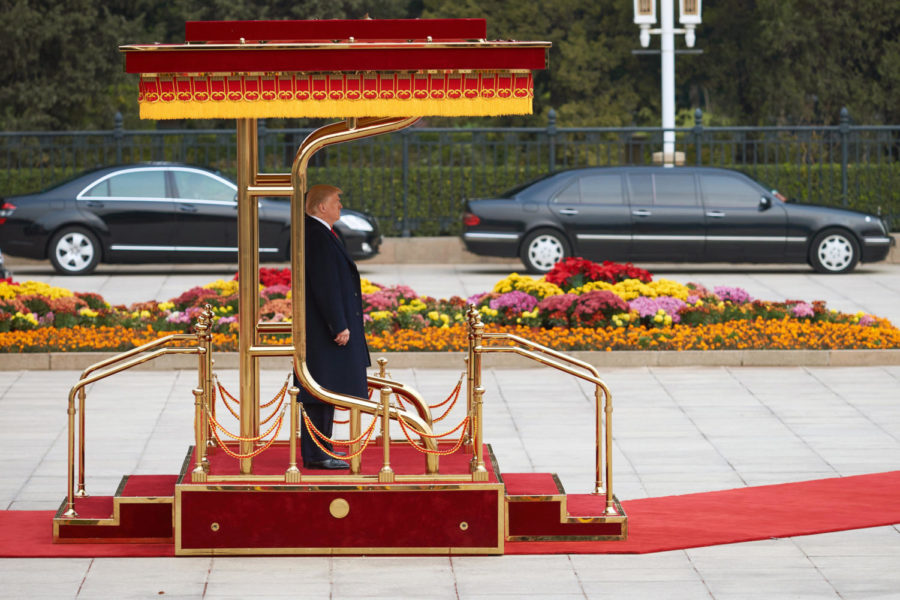 US President Donald Trump ahead of a meeting with China's President Xi Jinping outside the Great Hall of the People in Beijing on Nov. 9, 2017. (Artyom Ivanov/Tass/Abaca Press/TNS)