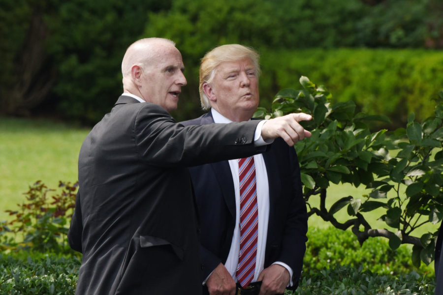 Keith Schiller, deputy assistant to the president and director of Oval Office operations, talks to President Donald Trump during a ceremony on the South Lawn of the White House in Washington, D.C., on June 12, 2017. (Olivier Douliery/ddp USA/Sipa USA/TNS)