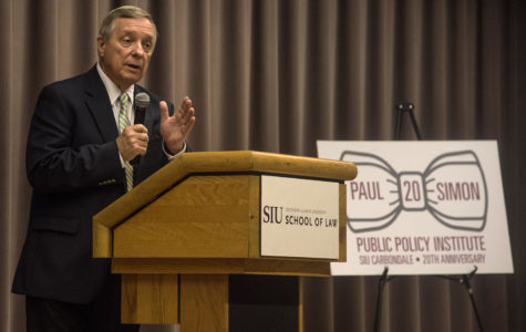 Sen. Richard ÒDickÓ Durbin, responds to a question about the Cairo housing crisis, Tuesday, Oct. 10, 2017, during the Paul Simon InstituteÕs 20th anniversary at the Hiram H. Lesar Law Building auditorium. ÒI went to the Cairo school today and met with the sixth graders and they actually asked [if] this school going to be here next year,