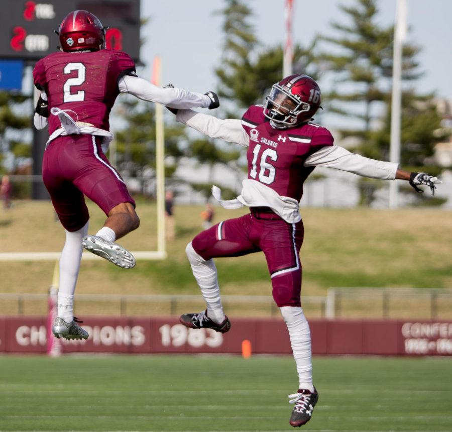 Sophomore safety James Chinn, left, and sophomore safety James Ceasar, celebrate a touchback Saturday, Nov. 4, 2017, during the Salukis' 28-20 loss against the Youngstown State Penguins at Saluki Stadium. (Brian Mu–noz | @BrianMMunoz)