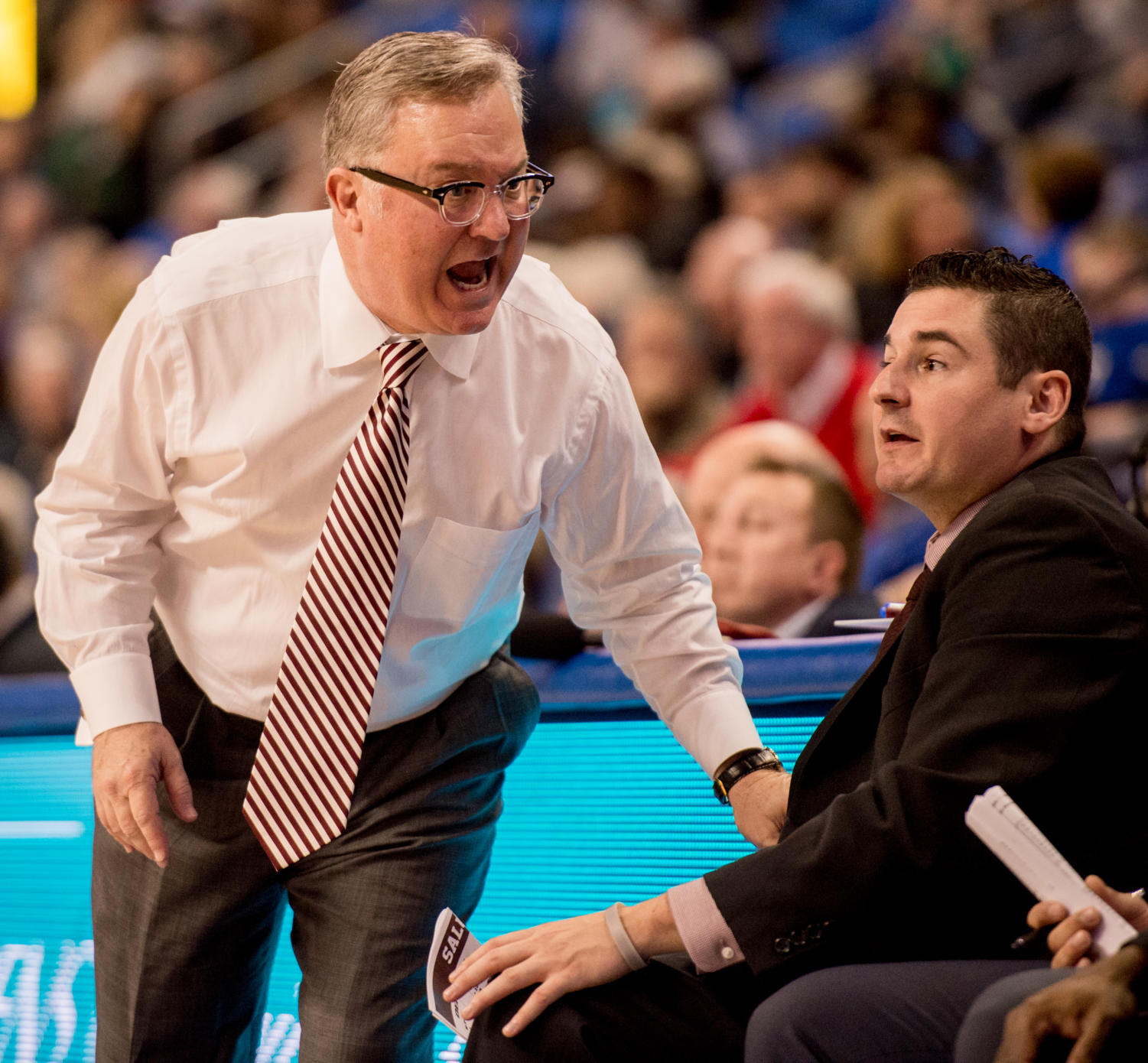 Coach Barry Hinson reacts to a play Wednesday, Dec. 6, 2017, during the Salukis' 69-74 loss against the St. Louis University Billikens at Chaifetz Arena in St. Louis, Missouri. (Brian Muñoz | @BrianMMunoz)