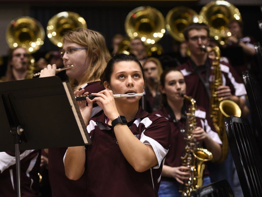 Alexa Maxwell, a junior from Grayslake studying pre-medicine, plays piccolo with the Saluki pep band during SIU's 82-77 win against Indiana State on Wednesday, Jan. 24, 2018, at SIU Arena. (Anna Spoerre | @AnnaSpoerre)