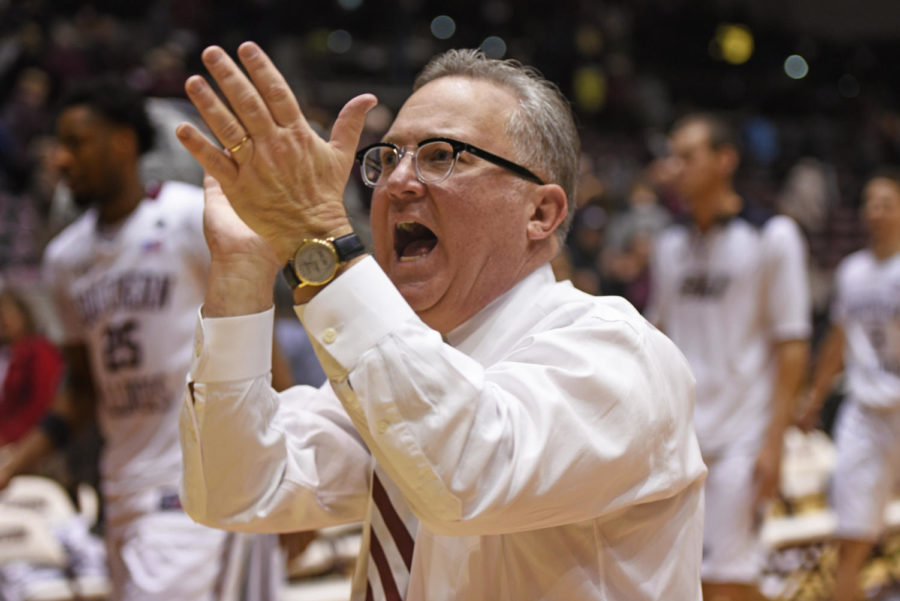 Saluki head coach Barry Hinson exclaims after SIUs 82-77 win against Indiana State on Wednesday, Jan. 24, 2018, at SIU Arena. (Anna Spoerre | @AnnaSpoerre)