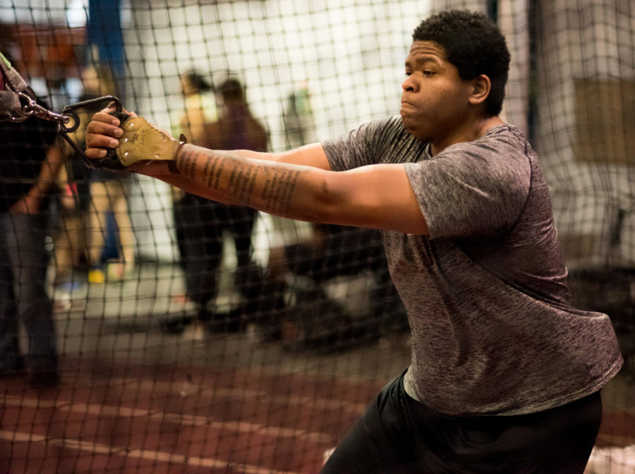 Isaac Ingram, a senior studying criminology from Harrisburg, practices weight throw Monday, Jan. 29, 2018, at the student recreation center. Ingram had the seventh-best throw in the nation at the 2018 Indiana Relay with a throw at 71'-7.5