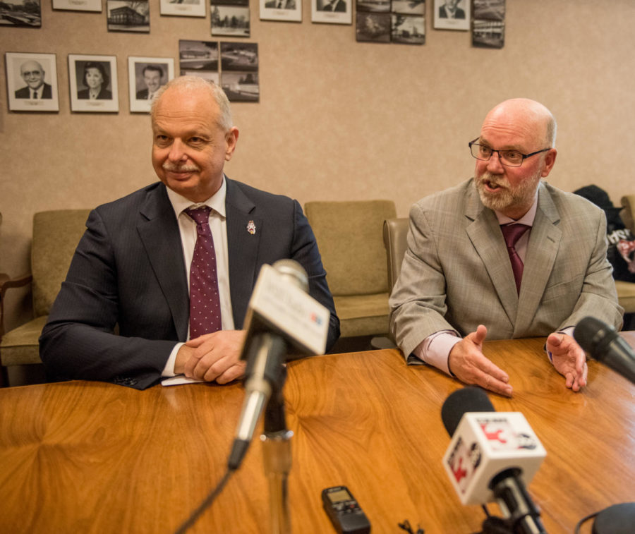 Jerry Kill, special assistant to the chancellor, speaks to media alongside late chancellor Carlo Montemagno, on Tuesday, January. 30, 2018, during the public announcement of Kill's appointment to serve as an ambassador and fundraiser for the university in Anthony Hall.