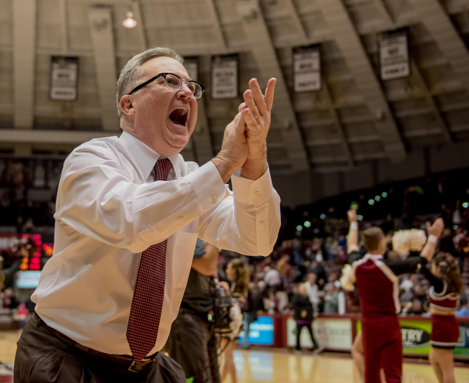 Coach Barry Hinson reacts after beating Illinois State Saturday, Jan. 13, 2018, during the Salukis' 74-70 win against the Illinois State Redbirds at SIU Arena. (Brian Mu–noz | @BrianMMunoz)