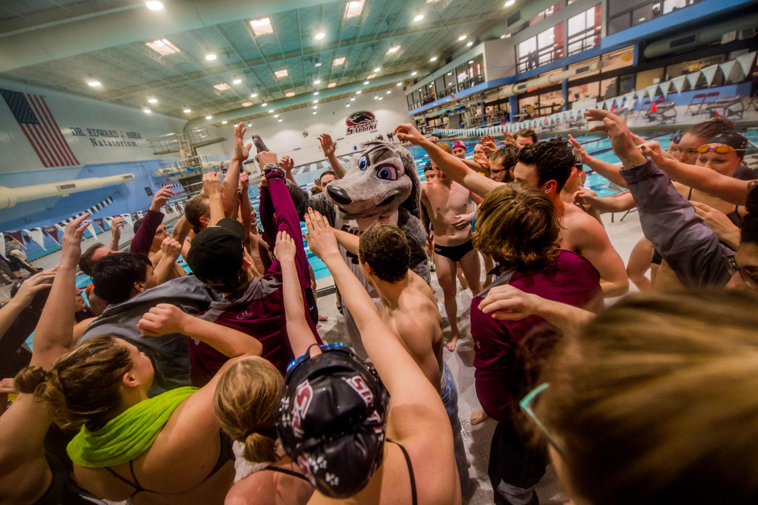 Grey Dawg and the SIU Swim and Diving team hype up  Saturday, Jan. 27, 2018, before the Salukis' meet against the Indiana State Sycamores at the Edward J. Shea Natatorium in the recreation center. (Brian Munoz | @BrianMMunoz)