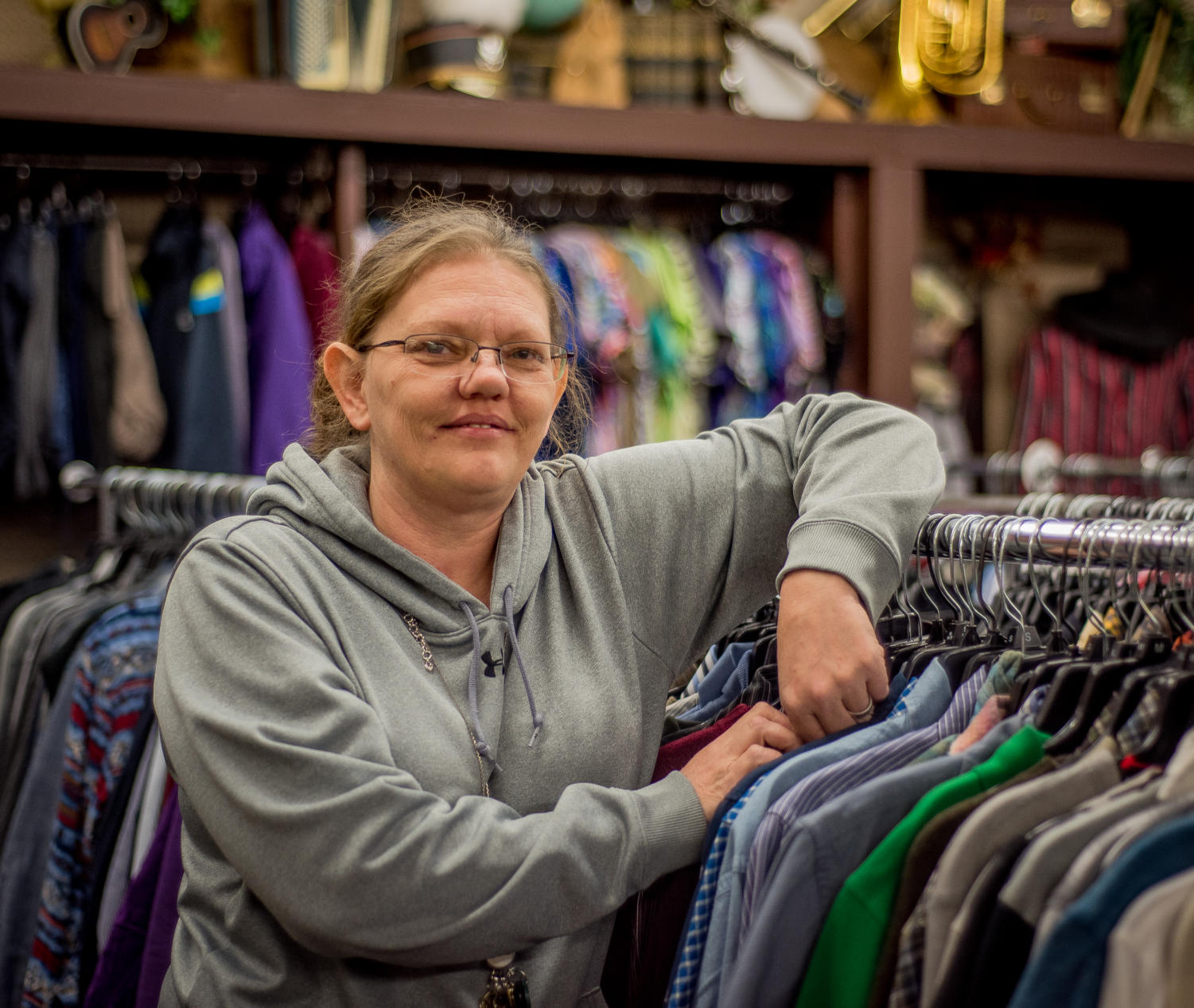 Jennifer Johnson, of Murphysboro, poses for a portrait Monday, Jan. 23, 2018, at The Thrift Shop in Carbondale. The Thrift Shop, where Johnson serves as store manager, provides items for the public's purchase but also assists the community in providing clothing and household goods to those in need.