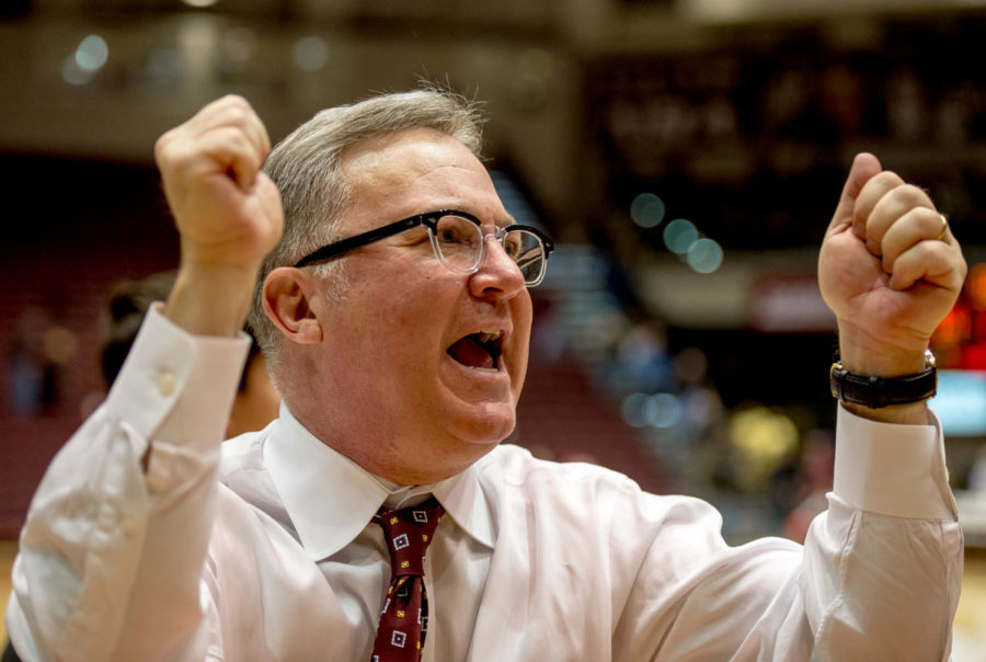 Head coach Barry Hinson celebrates a win Sunday, Jan. 21, 2018, during the Salukis' 64-53 victory over the University of Northern Iowa Panthers at SIU Arena. (Brian Munoz | @BrianMMunoz)