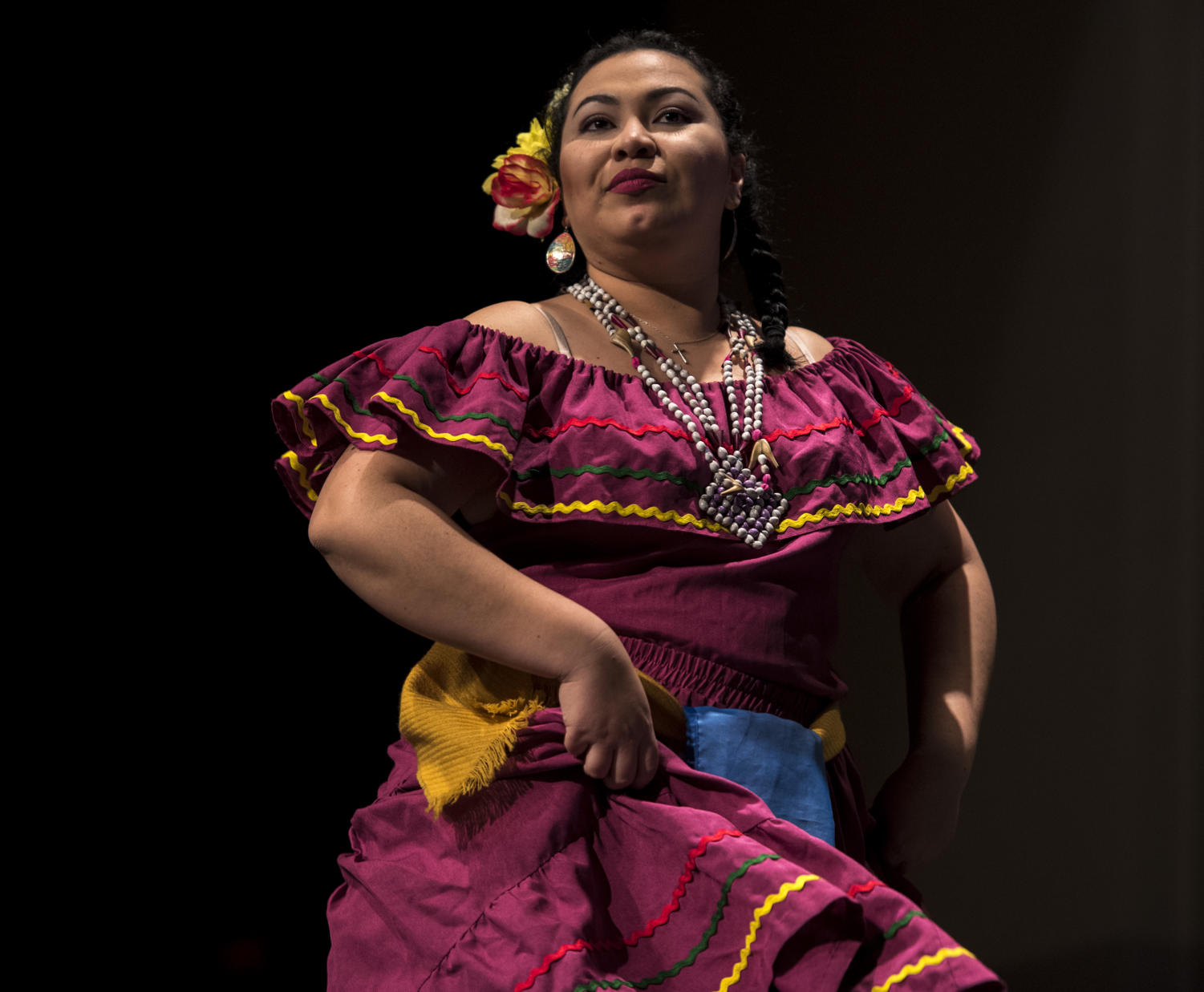 Fany+Martinez%2C+a+graduate+student+studying+language+and+literature+from+Honduras%2C+dances+the+Punta%2C+Friday%2C+Feb.+9%2C+2018%2C+inside+the+Student+Center+Ballrooms+during+the+International+Festival+Cultural+Show.+%28Mary+Newman+%7C+%40MaryNewmanDE%29