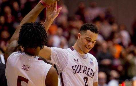 Seniors Tyler Smithpeters and Jonathan Wiley close out Saluki career