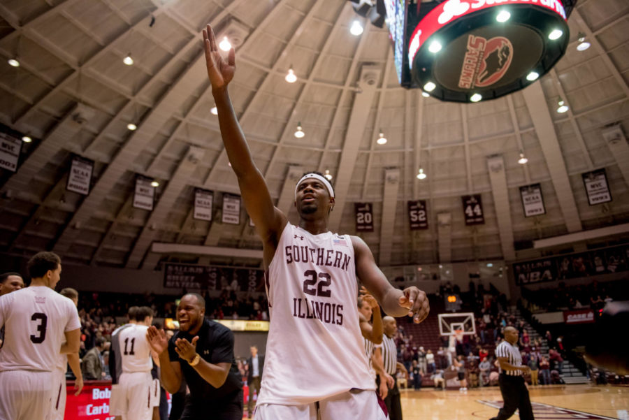 Junior guard Armon Fletcher gestures towards the crowd Wednesday, Feb. 14, 2018, during the Salukis' 81-80 win against the Missouri State Bears at SIU Arena. (Brian Munoz | @BrianMMunoz)