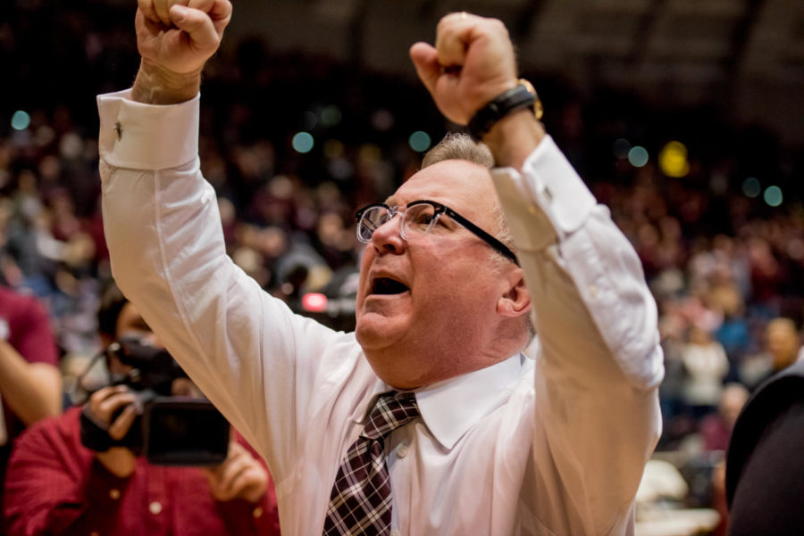 Head coach Barry Hinson celebrates his 300th win Saturday, Feb. 3, 2018, during the Salukis' 65 - 59 win against the Valparaiso Crusaders at SIU Arena. (Brian Munoz | @BrianMMunoz)