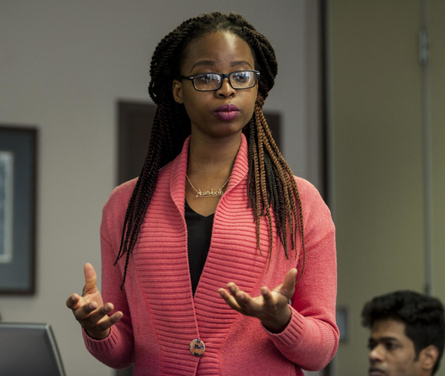 Abimbola Iyun, an SIU student working on her doctorate in Mass Communication & Media Arts, talks about the abduction of girls in Chibok, Nigeria focusing on the social media campaign #BringBackOurGirls, Friday, March 2, 2018, inside the Kaskaskia Room at the Student Center during the sixth annual Cross-Disciplinary Conference: Women, Gender, and Sexuality Studies. (Mary Newman | @MaryNewmanDE)
