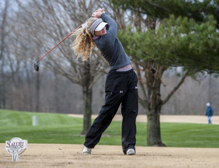 Sophomore Erica Kerr, of Peoria, drives the ball, Sunday, March 25, 2018, during the 24th annual Saluki Invitational at Hickory Ridge Golf Course in Carbondale. (Mary Newman | @MaryNewmanDE)