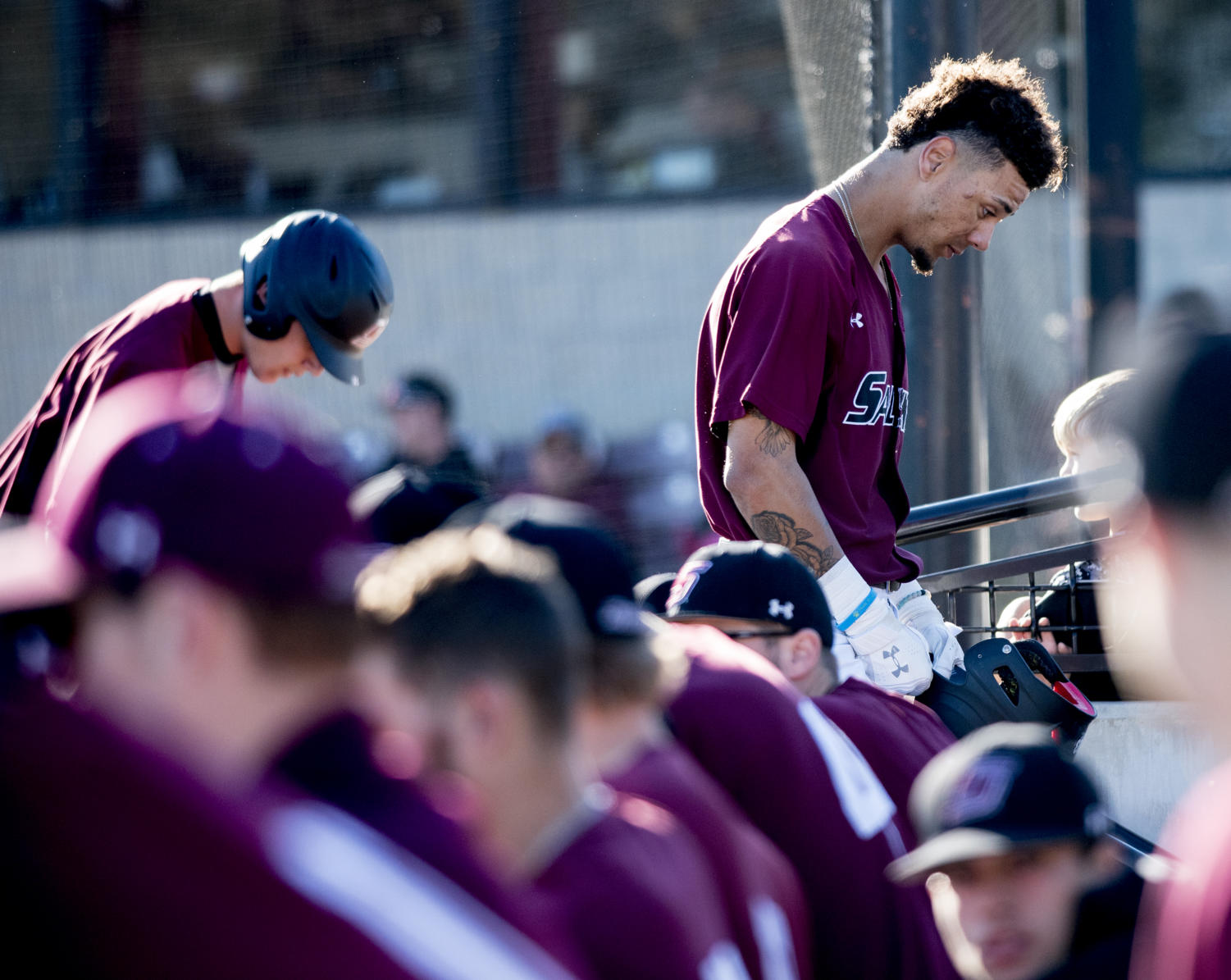Junior outfielder Kenton Crawford takes a moment to think Friday, March 2, 2018, during the Louisiana Monroe's Warhawks 5-4 win over the Salukis' at Itchy Jones Stadium. (Cameron Hupp | @CHupp04)