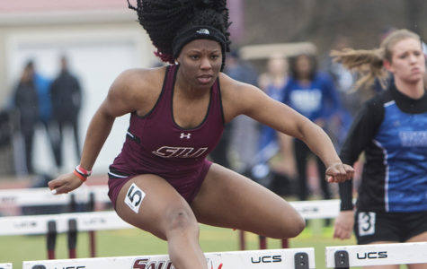 Freshman Jewell Bolden in the Women's 100m Hurdles Saturday, March 24, 2018 during the Bill Cornell Spring Classic at the Lew Hertzog Track and Field complex. (Corrin Hunt | @CorrinIHunt)