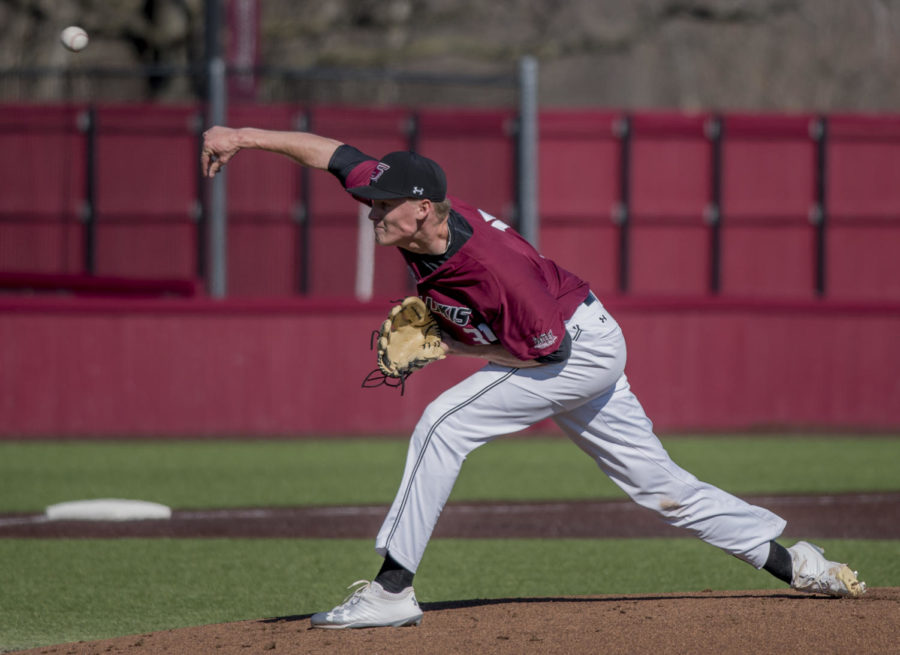 Senior pitcher Michael Baird launches a fastball Friday, March 2, 2018, during the Louisiana Monroe's Warhawks 5-4 win over the Salukis' at Itchy Jones Stadium. (Cameron Hupp | @CHupp04)