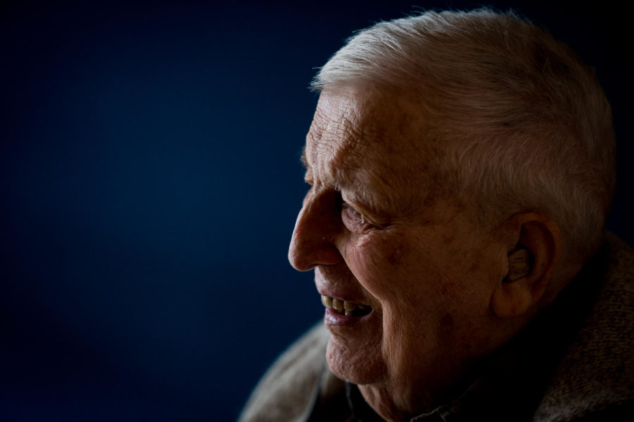 """Kris Juul, a 94-year-old Norwegian veteran, Nazi-Germany refugee and former SIU professor smiles for a portrait while speaking about his time in Norway on Saturday, March 24, 2018, at his home in Carbondale. Juul was one of several Norwegians that were able to escape the Nazi rule. Juul later had boarded a ship with about 400 to 500 Norwegian students and went to the United States. """"When I woke up, the ship was in the harbor in New York,"""