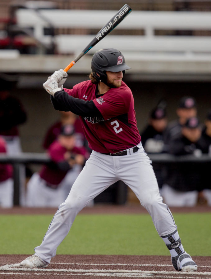 Southern Illinois junior infielder Alex Lyon (2) prepares for a pitch Friday, March 23, 2018, during the University of California-Irvine Anteaters' 6-2 victory against the Southern Illinois Salukis at Itchy Jones Stadium. (Brian Munoz | @BrianMMunoz)