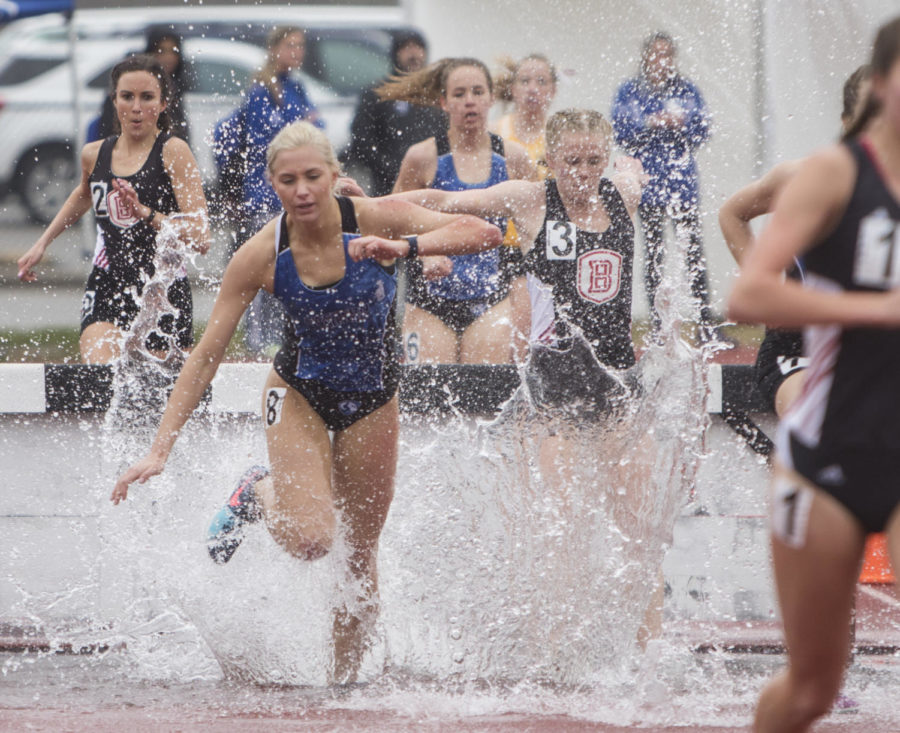 Eastern Illinois freshman Maggie Mcpherson running in the Women's 3000m Steeplechase Saturday, March 24, 2018 during the Bill Cornell Spring Classic at the Lew Hertzog Track and Field complex. (Corrin Hunt | @CorrinIHunt)