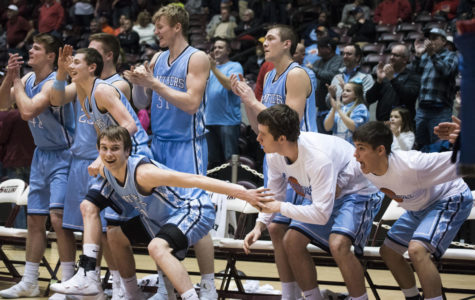 The Pinckneyville Panthers' bench gets excited Tuesday, Mar. 6, 2018, during the Panthers' 60-47 win against the Mt. Carmel Golden Aces at SIU Arena. (Cameron Hupp | CHupp04)