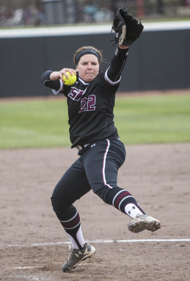 Saluki junior Jordan Spicer pitches the ball Sunday, March 25, 2018, during the Blackout Cancer game, where the Salukis took a 6-3 win against Illinois State University, at Charlotte West Stadium. (Corrin Hunt   @CorrinIHunt)