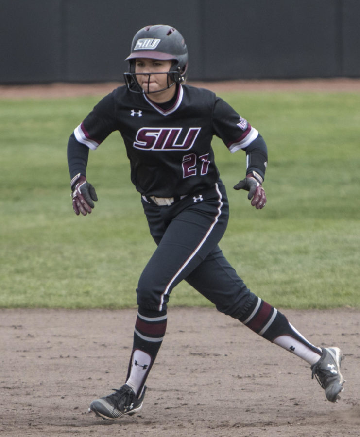 Saluki sophmore Maddy Vermejan takes a lead off of second base Sunday, March 25, 2018, during the Blackout Cancer game, where the Salukis took a 6-3 win against Illinois State University, at Charlotte West Stadium. (Corrin Hunt | @CorrinIHunt)