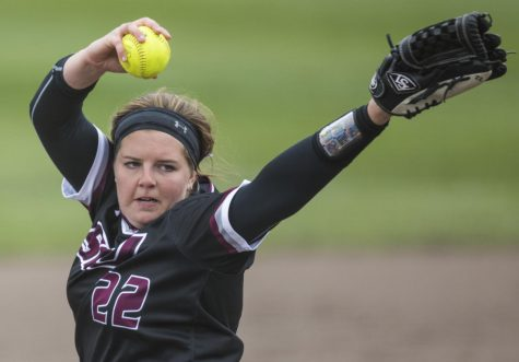 Saluki junior Jordan Spicer pitches the ball Sunday, March 25, 2018, during the Blackout Cancer game, where the Salukis took a 6-3 win against Illinois State University, at Charlotte West Stadium. (Corrin Hunt | @CorrinIHunt)