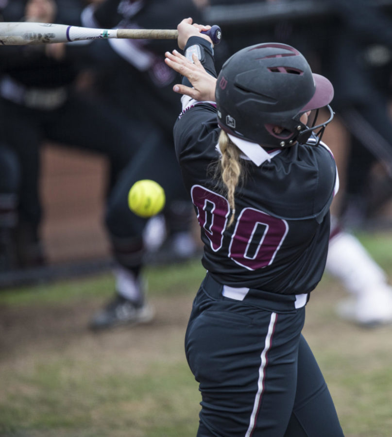 Saluki senior Sydney Jones hits a foul ball Sunday, March 25, 2018, during the Blackout Cancer game, where the Salukis took a 6-3 win against Illinois State University, at Charlotte West Stadium. (Corrin Hunt   @CorrinIHunt)